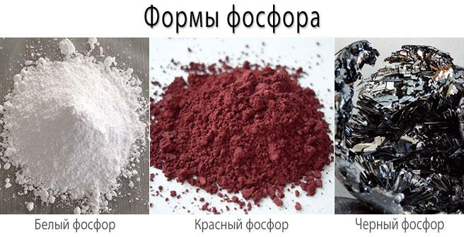 Формы фосфора - белый, красный, черный